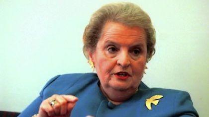 Madeleine Albright's pins reflect her diplomatic messages