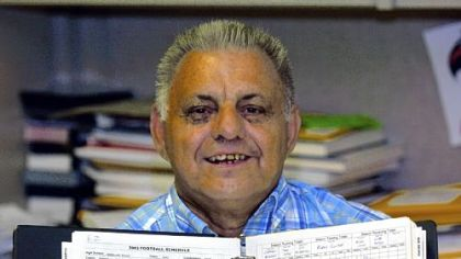 """Lawrence """"Deuce"""" Skurcenski, of North Braddock, is a local legend among high school sports followers. He has been keeping statistics and doing some stringer reporting on high school sports for almost five decades."""