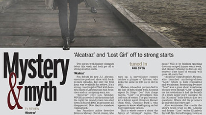 Tuned In: 'Alcatraz' and 'Lost Girl' off to strong starts