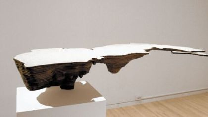 "In her ""Negative Water"" series, artist Maya Lin represents the volume beneath the surface to draw attention to what we don't see, as in ""Caspian Sea (Bodies of Water series)"" at Carnegie Museum of Art."