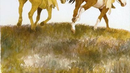 """""""Crow and Weasel on Horseback""""  from """"Draw Me a Story: A Century of Children's Book Illustration"""" at The Frick."""