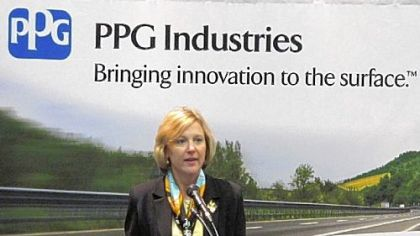 Cindy Niekamp, PPG's senior vice president, automotive coatings, addresses the media at the Detroit Auto Show last month.