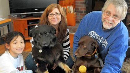 Eliza, Jami and Bruce Estabrook with their dogs, Molly, left, and Naia.