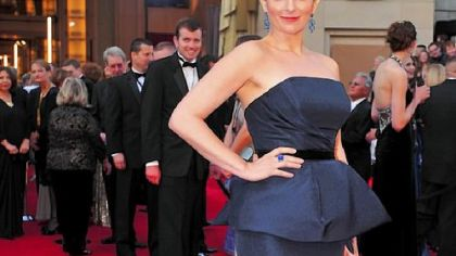 Tina Fey in a Carolina Herrera gown.