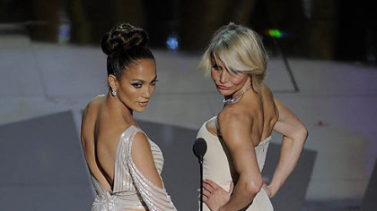 Jennifer Lopez, left, and Cameron Diaz exuded elegance in subtle yet stunning hues.