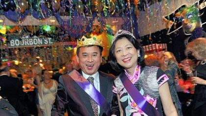 Dr. Freddie and Hilda Fu, last year's Mardi Gras king and queen.