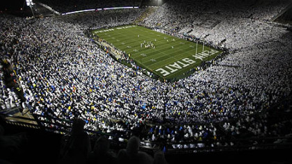 In this Sept. 26, 2009, file photo, Penn State fans wear white as they fill Beaver Stadium to show their support for the Nittany Lions in an NCAA football game at State College.