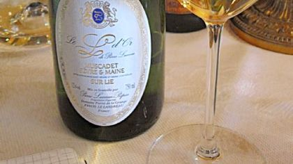 The 23-year-old 1989 'L' d'Or Muscadet served at lunch at Domaine Pierre Luneau-Papin's tasting room in Le Landreau, France. Luneau-Papin's delicious, long-lived Muscadets are from parcels of old vines in the Muscadet Sevre et Maine area in the far western Loire Valley.