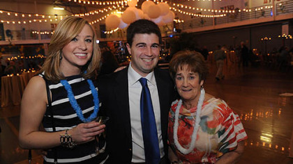 Katie Stohlberg, left, with Corey O'Connor and his mother Judy O'Connor.