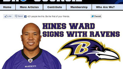 "BroCouncil.com created a joke post that said, ""Hines Ward Signs With Ravens."""