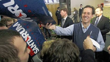 Rick Santorum greets students at the Dayton Christian School in Miamisburg, Ohio.