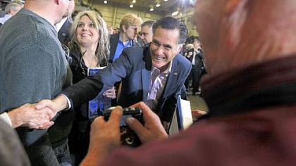 Mitt Romney works the crowd at a town hall meeting at Taylor Winfield in Youngstown.