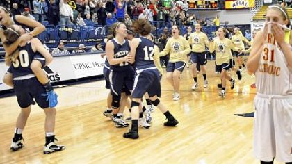 Vincentian teammates celebrate the Royals' victory against North Catholic in the WPIAL Class A girls championship at the Palumbo Center Saturday.