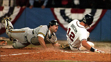 The play that started the Pirates' slide: The Braves' Sid Bream slides across the plate to win the National League Championship Series as Pirates catcher Mike LaValliere applies the late tag in the ninth inning on Oct. 14, 1992.