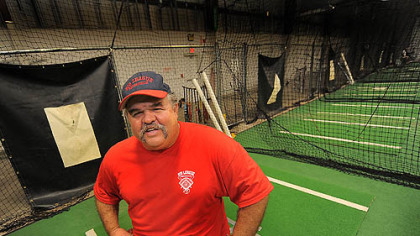 Former Pirates catcher Mike LaValliere at Big League Experience batting cages in Sarasota, Fla.
