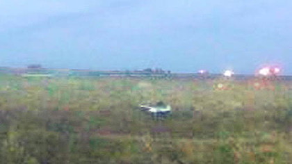 A single engine plane went off the side of a runway and down a hill at the Rock Airport