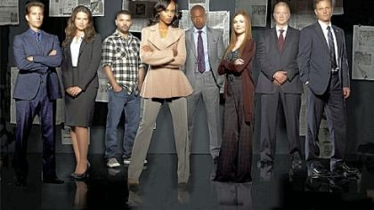 "ABC's ""Scandal"" stars Henry Ian Cusick, left, Katie Lowes, Guillermo Diaz, Kerry Washington, Columbus Short, Darby Stanchfield, Jeff Perry and Tony Goldwyn."