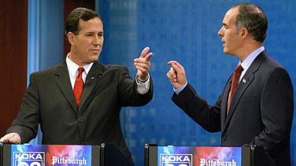 October 2006: Rick Santorum, then U.S senator, debates challenger Robert Casey Jr. on KDKA-TV.