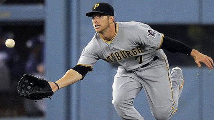 Pirates left fielder Alex Presley makes a catch on a ball hit by Los Angeles Dodgers' Andre Ethier.