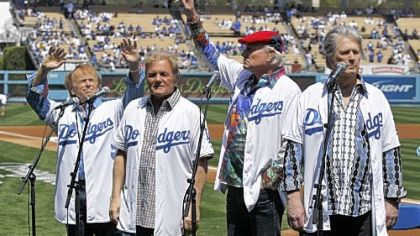 The Beach Boys performed the national anthem before Tuesday's Dodgers home opener at Dodger Stadium. The opener was the first of two the Pirates will take part in on their West Coast road trip. They also will be the opponent for the Giants' opener Friday in San Francisco.
