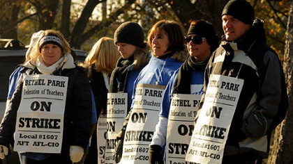 Bethel Park teachers on strike in 2010 at Independence Middle School. They still do not have a contract, and budget cuts are hampering negotiations.