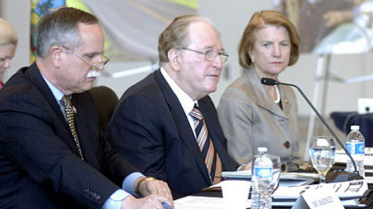 Sen. Jay Rockefeller, D-W.Va., center, speaks Wednesday at a hearing of the U.S. Senate Committee on Commerce, Science and Transportation in Fairmont, W.Va.  With him are Reps. Shelley Moore Capito (right) and David McKinley, both Republicans from West Virginia.