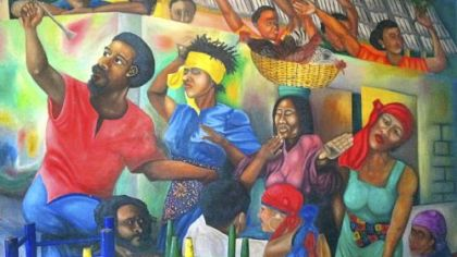 Murals in Miami Beach&#039;s Tap Tap Haitian Restaurant were painted by artists from Haiti.