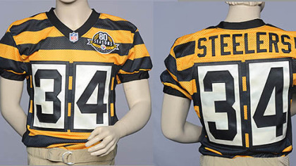 Front and rear view of the Steeler throwback jersey unveiled today.