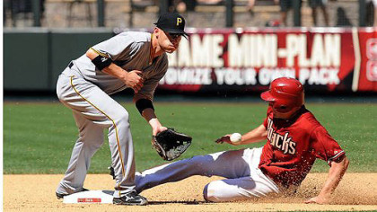 Clint Barmes  waits for the throw from home plate as AJ Pollock of the Arizona Diamondbacks slides into second base at Chase Field in Phoenix, Arizona.