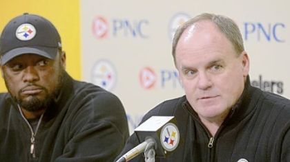 Steelers coach Mike Tomlin and general manager Kevin Colbert speak to the media during a pre-draft news conference Monday at the South Side training facility.