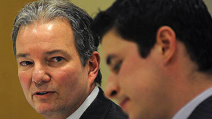 Penguins general manager Ray Shero and Sidney Crosby speak to members of the media during a January press conference.