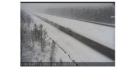 Screen capture from PennDOT traffic cam on Interstate 80 east of DuBois.