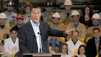 Republican candidate Mitt Romney talks about energy during his stop Monday at the Consol Energy research facility in South Park.