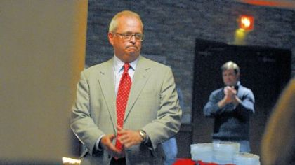 Mark Mustio thanks about 50 of his supporters at the Montour Country Club Tuesday night.