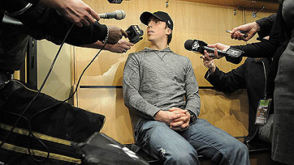 Penguins goaltender Marc Andre Fleury talks to the media Tuesday.