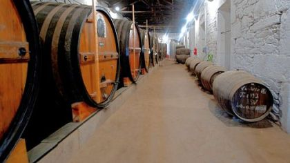 Port produced by the Symington Family Estates sits in wooden casks at the Quinta do Vesuvio estate in Guarda, near Porto, Portugal.