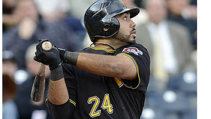 Pedro Alvarez watches the flight of his second home run of the day Wednesday at PNC Park.