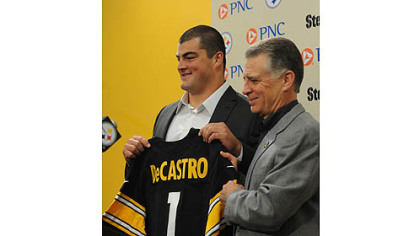 Steelers top draft pick David DeCastro is introduced by team president Art Rooney II at Steelers headquarters on the South Side