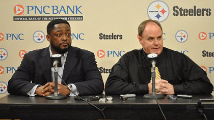 Steelers head coach Mike Tomlin and General Manager Kevin Colbert address the media at team's South Side headquarters Thursday night after selecting Stanford guard David DeCastro in the first round of the 2012 NFL Draft.