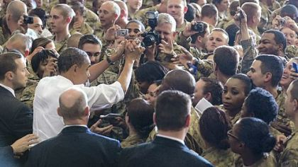President Barack Obama greets troops during a visit to Bagram Air Field on Tuesday in Afghanistan.