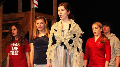 "Avonworth High School's cast members rehearse a scene from ""Sweeney Todd."""