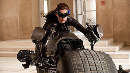 Anne Hathaway tools around Gotham (aka Pittsburgh) as Catwoman in &quot;The Dark Knight Rises.&quot;