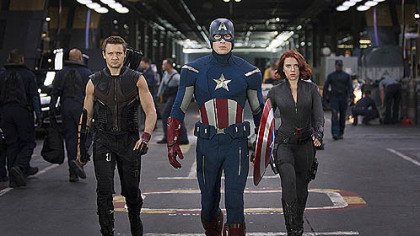 &quot;Marvel&#039;s The Avengers&quot; from left, Hawkeye (Jeremy Renner), Captain America (Chris Evans) and Black Widow (Scarlett Johansson), opens May 4.