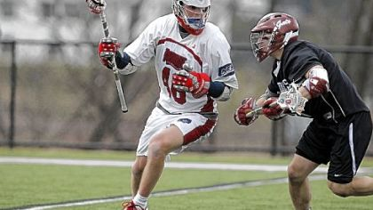 Senior midfielder Kiel Matisz, left, has helped lead the Robert Morris lacrosse team to a national ranking this season. The Colonials are playing host to the Northeast Conference tournament, which begins today.