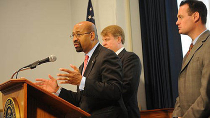 Philadelphia Mayor Michael Nutter, center, attends a press conference with County Executive Rich Fitzgerald and Pittsburgh Mayor Luke Ravenstahl to address critical issues in the Commonwealth.