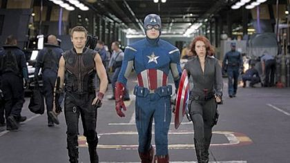 A trio of Avengers: Hawkeye (Jeremy Renner), Captain America (Chris Evans) and Black Widow (Scarlett Johansson).