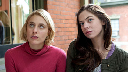 "Greta Gerwig as Violet and Analeigh Tipton as Lily in ""Damsels in Distress."""