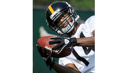 Jimmy Young pulls in the ball during Steelers' rookie mini-camp.