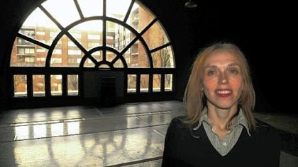 Rene Conrad, executive director of the New Hazlett Theater, in the theater's rehearsal hall.