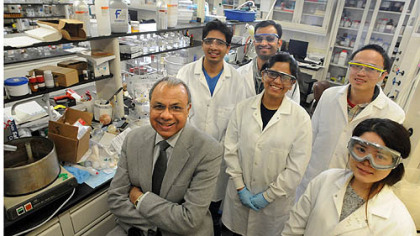 Duquesne University professor of medicinal pharmacy Aleem Gangjee, left, with graduate students who work with him in his research --Rishabh Mohan, left, Roheeth Kumar Pavana, Shruti Choudhary, Weigno Xiang and Si Yang.